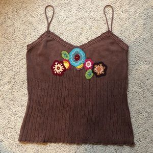 100% cotton brown tank top Sz Small Petite